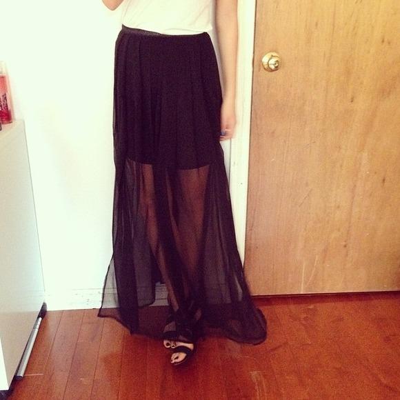 dresses skirts sheer black maxi skirt with slits 2