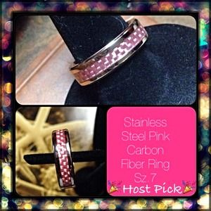 Jewelry - 🎉HP🎉Stainless Steel Pink Carbon Fiber Inset Ring