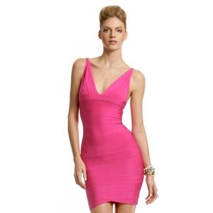 Herve Leger Dresses & Skirts - AUTHENTIC Hervé Léger Fuchsia Fantasy V Dress