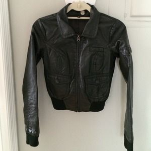 H&M faux leather biker jacket size 2