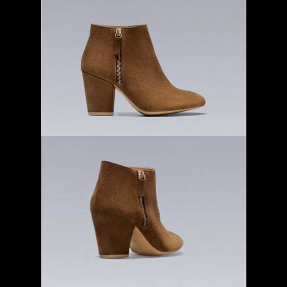 26% off Zara Shoes - Zara brown real leather suede ankle boots ...