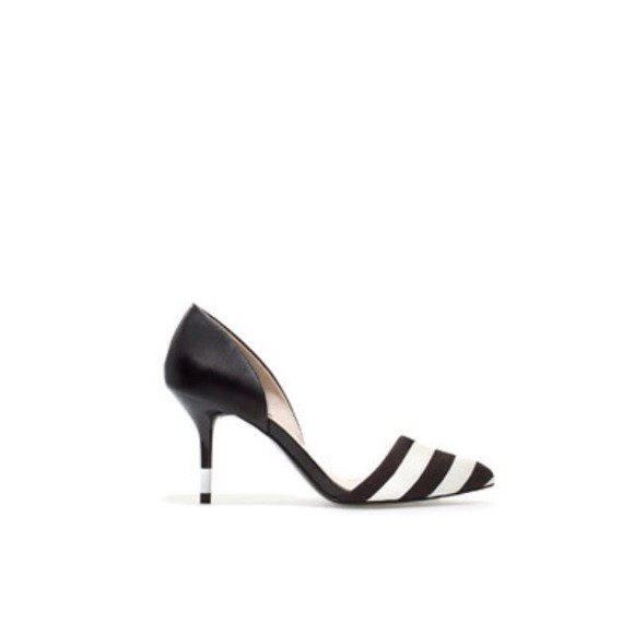 Zara Shoes - Zara black white stripe pointed court heel low 6.5