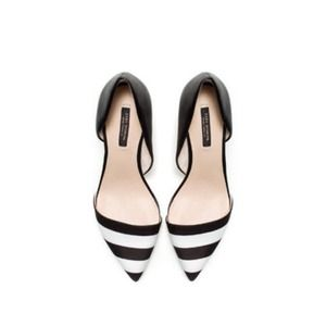 Zara Shoes - Zara black white stripe pointed court heel low 6.5 2
