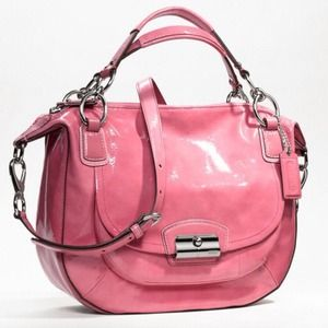 COACH KRISTIN ROSE/SILVER PATENT LEATHER SATCHEL