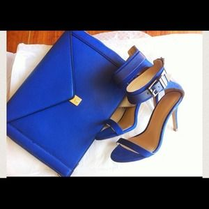 Zara cobalt blue ankle strap buckle zippered heel