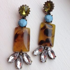 Tortoise turquoise crystal earrings