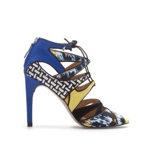 Zara multi color blue yellow lace up gladiator 37