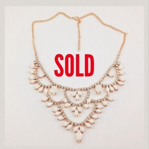 Gold Plated White Gem Tiered Necklace