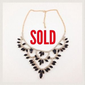 Gold Plated Black Gem Rhinestone Tiered Necklace
