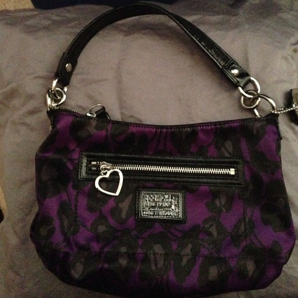 88 off coach handbags purple leopard print coach purse
