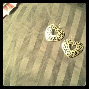 Silvertone heart earrings