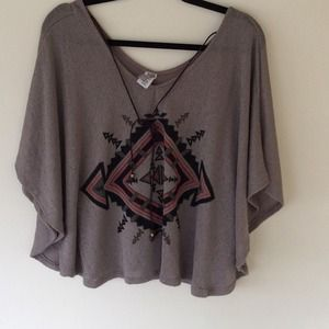Brown tee summer poncho top size small