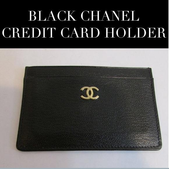 Chanel Accessories Black Leather Credit Card Holderwallet Poshmark