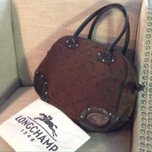 Longchamp Nylon Logo and Leather Handbag