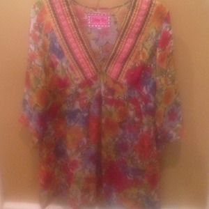 Johnny Was Floral Silk Blouse. Medium