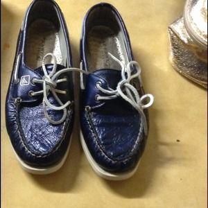 A/o navy metallic sperry top siders