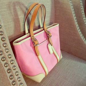 Coach Handbags - Coach Pink Canvas + Leather Small Tote
