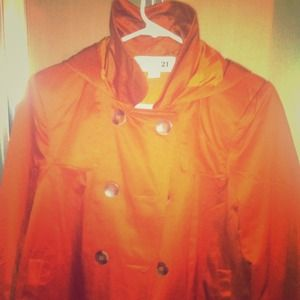 Forever 21 Jacket w/hood size small. Burnt orange!