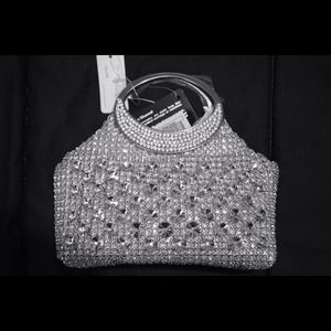 Fully embellished silver clutch