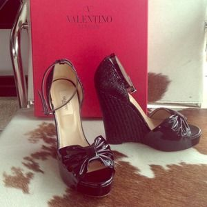 Valentino Shoes - 💕VALENTINO  black patent wedges💕