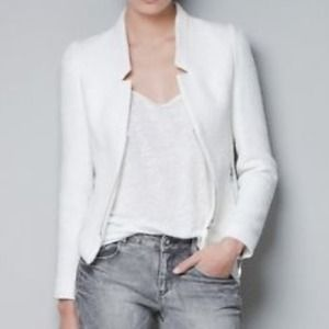Zara Jackets & Blazers - Zara White Tweed Blazer