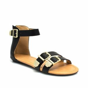 City Classified Shoes - Black Gold Buckle Ankle Strap Sandal