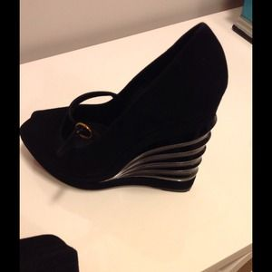 YSL Suede Mary Jane Wedges