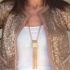 Gold plated statement tassel necklace