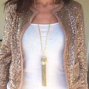 Gold plated crystal statement tassel necklace