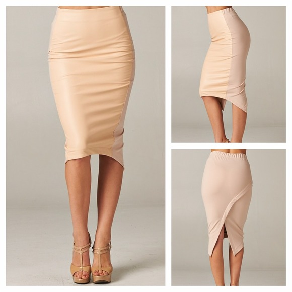 Tan Faux Leather Knit Contrast Pleat Back Skirt S from ...