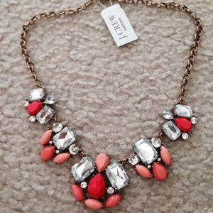 J crew coral & crystal necklace