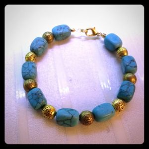 Handmade Turquoise Stone Accented With Gold