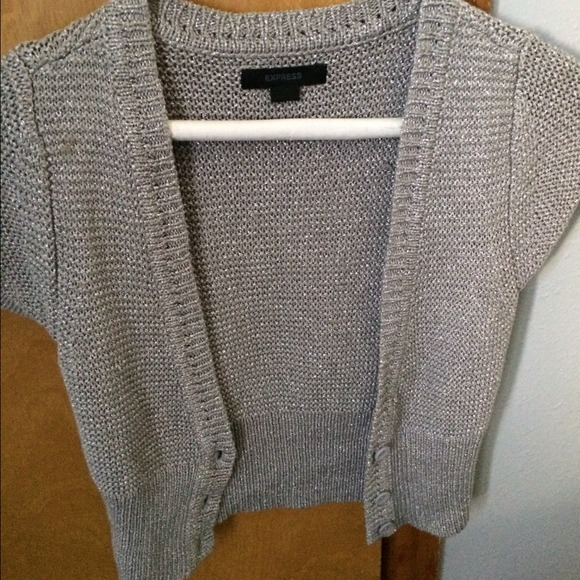 56% off Express Sweaters - Silver sparkles short sleeve cardigan ...