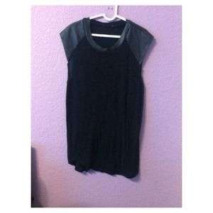 Tops - Short Leather Sleeve Top