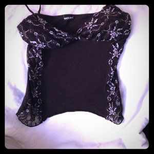 Black small lace tank top