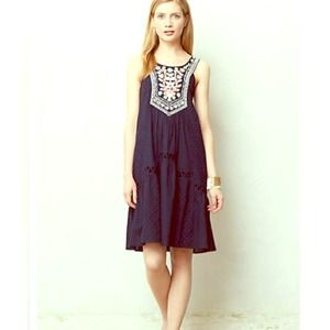 Anthro embroidered swing dress