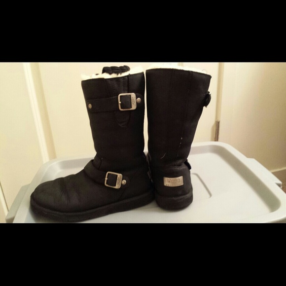 Black suede designer authentic UGG boots w/buckle