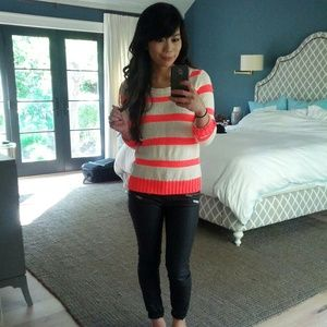 J. Crew Sweaters - JCrew bright pink striped sweater