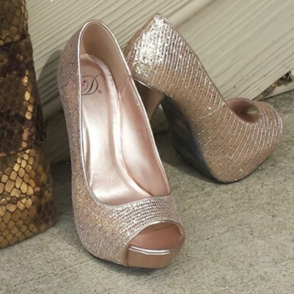20% off My Delicious Shoes Shoes - Champagne/rose gold peep toe ...