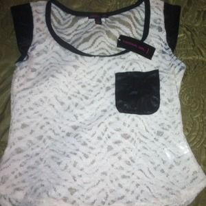 NWT Faux leather Pocket Tee