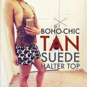Tops - 🎉🎉HOST PICK🎉🎉Tan suede halter top