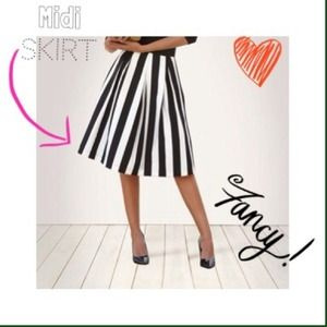  Black and white striped Midi skirt 