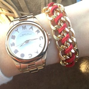 Gold chain link leather bracelet