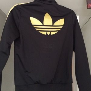 Adidas Jackets   Coats - Black with Gold Stripe Women s Adidas Jacket 1847ee0a78