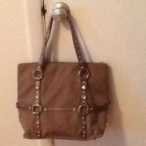 Kathy Van Zeeland Handbags - Tan and Bronze Suede Tote