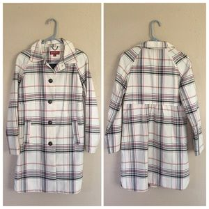 Merona  Jackets & Blazers - New White Plaid Trench Coat