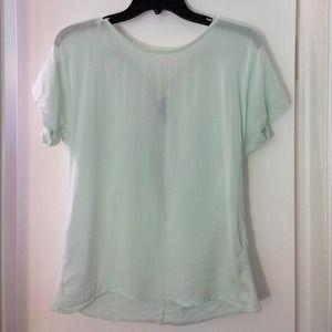 Zara mint green sheer blouse with zipper