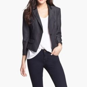 Gray Jacquard One Button Blazer