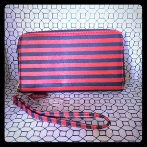 Navy & Red Wallet with detachable wristlet
