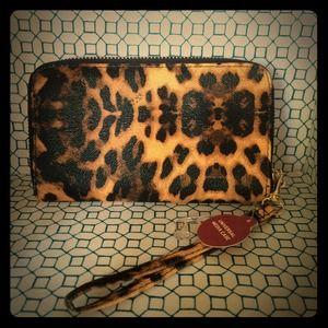 Cheetah print wallet with detachable wristlet